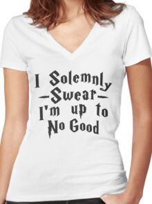 I Solemnly Swear I'm Up To No Good, Black Ink | Women's Harry Potter Quote, Deathly Hallows Women's Fitted V-Neck T-Shirt