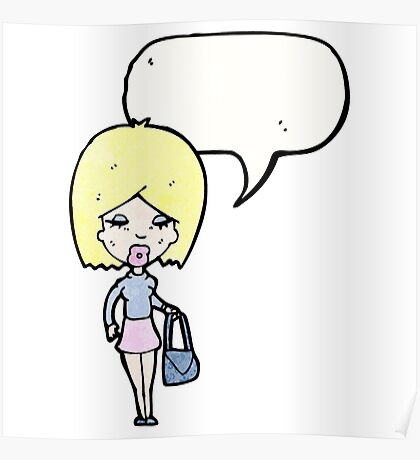 cartoon blond woman talking Poster