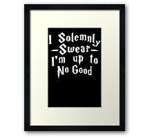 I Solemnly Swear I'm Up To No Good, White Ink | Women's Harry Potter Quote, Deathly Hallows Framed Print