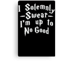I Solemnly Swear I'm Up To No Good, White Ink | Women's Harry Potter Quote, Deathly Hallows Canvas Print