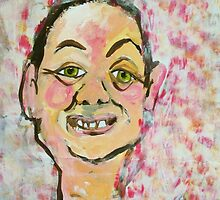large self portrait in pink on A2 brown envelope sent to me by donnamalone