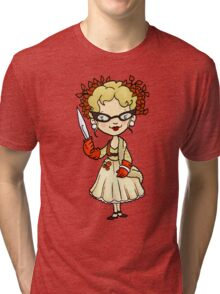 ITS A CLUE! Was it Mrs. Peacock with the KNIFE? Tri-blend T-Shirt