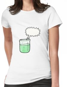 cartoon chemical beaker Womens Fitted T-Shirt