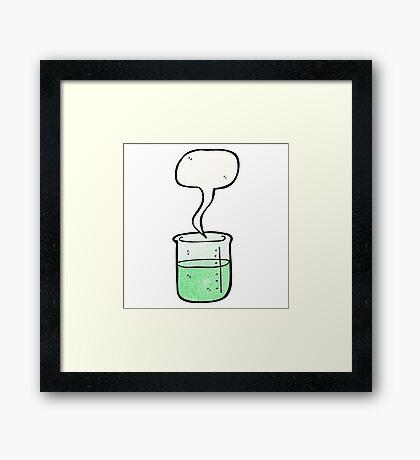 cartoon chemical beaker Framed Print