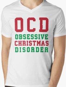 OCD Obsessive Christmas Disorder, Red and Green Ink   Women's Christmas Sweater, Ugly Christmas Sweater, Christmas Gift, Obsessive Compulsive Mens V-Neck T-Shirt