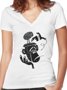 Numb Skull Monkey Women's Fitted V-Neck T-Shirt