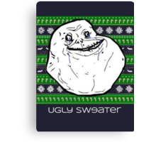 Forever Alone Ugly Sweater Canvas Print