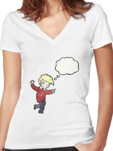 cartoon blond boy pointing Women's Fitted V-Neck T-Shirt