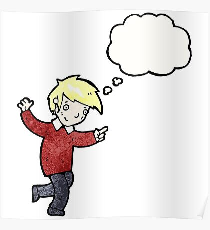 cartoon blond boy pointing Poster