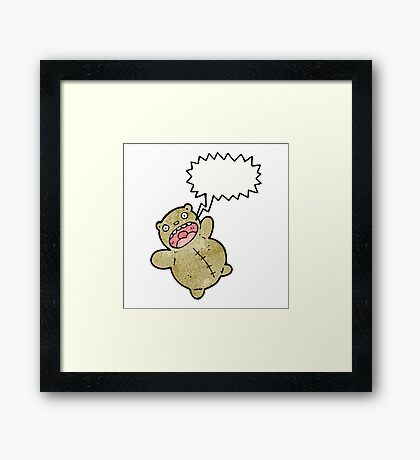 crazy teddy bear cartoon Framed Print