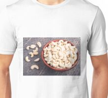 Tasty and healthy raw cashew nuts in a brown bowl Unisex T-Shirt