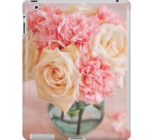 Beautiful bouquet of white roses and pink carnations iPad Case/Skin