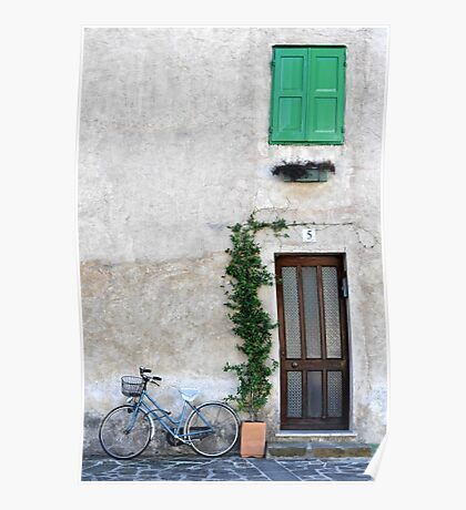 Bicycle beside the door, Italy Poster