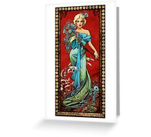 MM mucha red Greeting Card