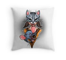 Trick or Treaters - Cat and Mouse Throw Pillow