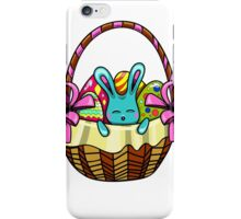 easter bunny sitting in a basket with Easter eggs iPhone Case/Skin