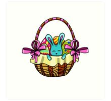 easter bunny sitting in a basket with Easter eggs Art Print