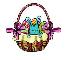 easter bunny sitting in a basket with Easter eggs by Ann-Julia