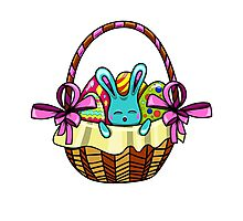 easter bunny sitting in a basket with Easter eggs Photographic Print