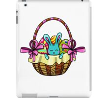 easter bunny sitting in a basket with Easter eggs iPad Case/Skin