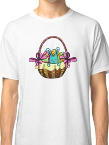 easter bunny sitting in a basket with Easter eggs Classic T-Shirt