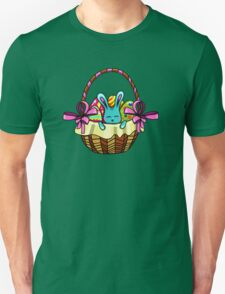 easter bunny sitting in a basket with Easter eggs T-Shirt