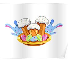 easter cakes with bunny and eggs Poster
