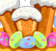 easter cakes with bunny and eggs Sticker