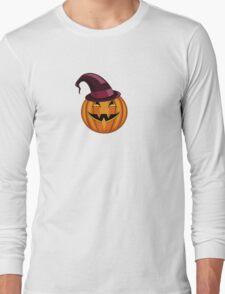 seamless pattern halloween pumpkin with hat Long Sleeve T-Shirt
