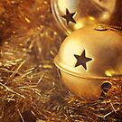 Gold Christmas baubles and tinsel. by Lyn  Randle
