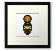 Halloween pumpkin with the poster in hands in style of a nested doll Framed Print