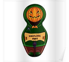 Halloween pumpkin with the poster in hands in style of a nested doll Poster