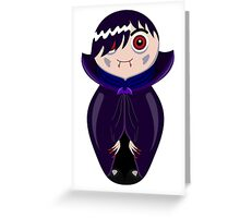 Nested doll in Dracula's suit in a violet raincoat Greeting Card