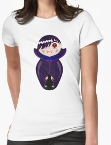 Nested doll in Dracula's suit in a violet raincoat Womens Fitted T-Shirt