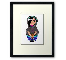 Emo teen girl made in the style of Russian dolls Framed Print