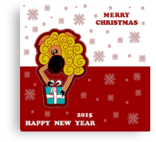 Christmas card with a sheep giving a gift, with flying snowflakes Canvas Print