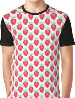 Cute watercolor strawberry pattern Graphic T-Shirt