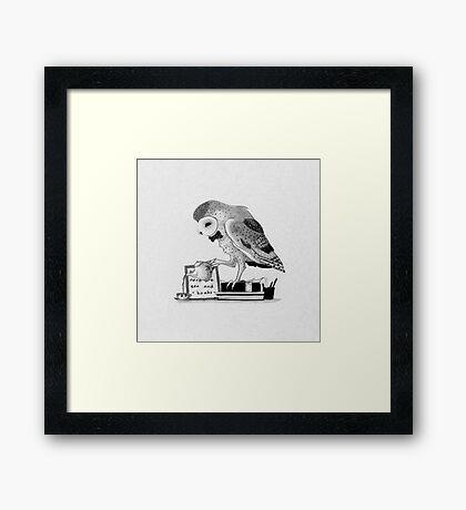 Tiny Tea Drinking Owl Framed Print