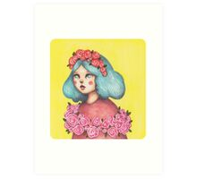 Adorned - Girl with Floral Crown Art Print