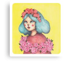 Adorned - Girl with Floral Crown Metal Print