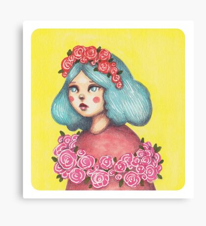 Adorned - Girl with Floral Crown Canvas Print