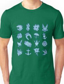 doodle traditional tattoo flash set. vector illustration Unisex T-Shirt