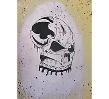 Chrome Silver Spray Paint Graffiti Skull  Photographic Print