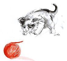 Cat and wool cats poster, sumi-e art print by Mariusz Szmerdt
