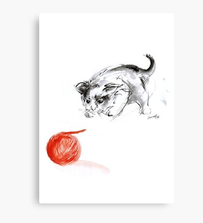 Cat and wool cats poster, sumi-e art print Canvas Print