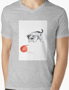 Cat and wool cats poster, sumi-e art print Mens V-Neck T-Shirt
