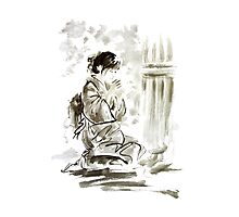 Japanese geisha large poster, tea ceremony art print Photographic Print