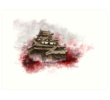 Japanese castle sumi-e painting, japanese art print for sale Art Print