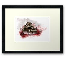 Japanese castle sumi-e painting, japanese art print for sale Framed Print