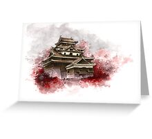 Japanese castle sumi-e painting, japanese art print for sale Greeting Card